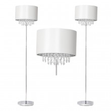 Pair of Cream Faux Silk Jewelled Floor Lamps