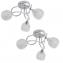 Pair of Polished Chrome Crossover Fitting with Crystal Effect Glass Shades