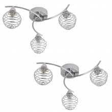 Pair of 3 Light Swirl Twist Fitting with Metal Spiral Shades