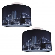 Set of 2 Digitally Printed Ceiling Flush Shade with New York City Skyline 400mm Diameter