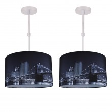 Set of 2 Digitally Printed Ceiling Adjustable Flush Shade with New York City Skyline 400mm Diameter