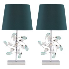 Pair of Chrome Table Lamp with Teal Fabric Shades