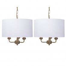 Pair of 3 Light Antique Brass Pendant Chandelier with Light Cream Fabric Shade