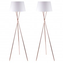 Pair Copper Tripod Floor Lamp with White Fabric Shade