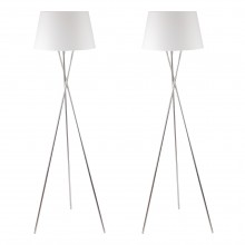 Pair Chrome Tripod Floor Lamp with White Fabric Shade