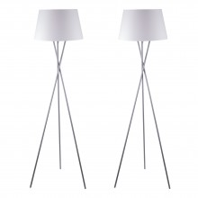 Pair Grey Tripod Floor Lamp with White Fabric Shade