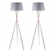 Pair Copper Tripod Floor Lamp with Grey Fabric Shade