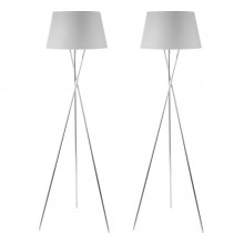Pair Chrome Tripod Floor Lamp with Grey Fabric Shade