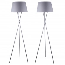 Pair Grey Tripod Floor Lamp with Grey Fabric Shade