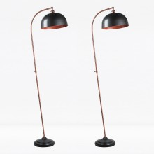 Set of 2 Antique Style Floor Lamp in Industrial Nickel Painted Finish with Antique Copper Detail
