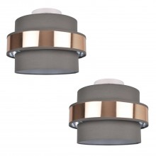 Pair of 2 Tier Grey Fabric & Brushed Copper Plated Banded Ceiling Flush Shade