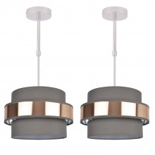 Pair of 2 Tier Grey Fabric & Brushed Copper Plated Banded Ceiling Adjustable Flush Shade