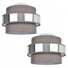 Pair of 2 Tier Grey Fabric & Brushed Silver Plated Banded Ceiling Flush Shade