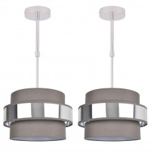 Pair of 2 Tier Grey Fabric & Brushed Silver Plated Banded Ceiling Adjustable Flush Shade