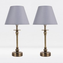 Set of 2 Antique Brass Plated Bedside Table Light with Detailed Column and Grey Fabric Shade
