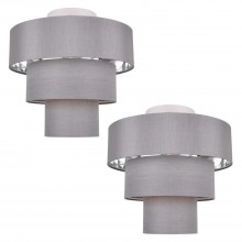 Set of 2 Staggered 3 Tier Grey Faux Silk Slub Fabric Ceiling Flush Shade with Chrome Board Inner