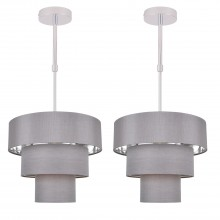Set of 2 Staggered 3 Tier Grey Faux Silk Slub Fabric Ceiling Adjustable Flush Shade with Chrome Board Inner