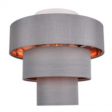 Staggered 3 Tier Grey Faux Silk Slub Fabric Ceiling Flush Shade with Copper Board Inner