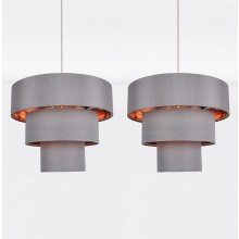 Set of 2 Easy Fit Staggered 3 Tier Grey Faux Silk Slub Fabric Shade with Copper Board Inner