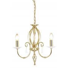 Brass 60W E14 3 Light Pendant