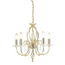 Brass 60W E14 5 Light Pendant