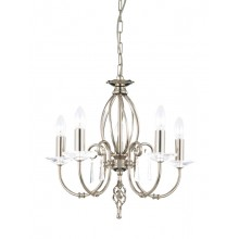 Nickel With Crystal Detailing 60W E14 5 Light Pendant