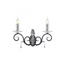 Black And Silver 60W E14 Twin Wall Light