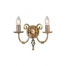 Aged Brass 60W E14 Twin Wall Light