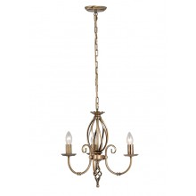 Aged Brass 60W E14 3 Light Pendant