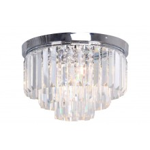 Modern Chrome & Crystal 3 Tier Flush Chandelier