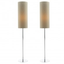 Set of 2 Floor Lamps with Mocha Cut Out Shades