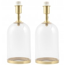 Pair of Satin Brass and Glass Cloche Design Table Lamp Bases