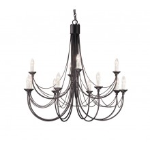 Black 60W E14 980mm Diameter 12 Light Pendant