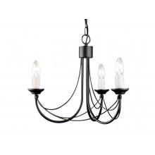 Black 60W E14 3 Light Pendant