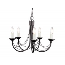 Black 60W E14 5 Light Pendant