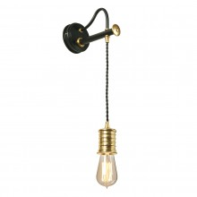 1 Light Wall Light Black With Polished Brass