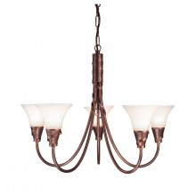 Copper Patina 60W E14 5 Light Pendant