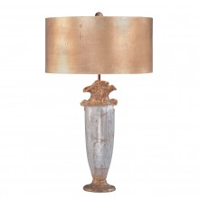 Silver/Gold and Brown 100W E27 Table Lamp