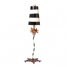 Gold Leaf With Black & Taupe Stripes 100W E27 Table Lamp
