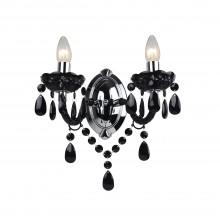 Black Acrylic and Chome Marie Therese Style 2 x 40W Wall Light