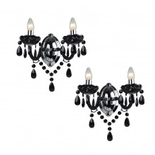 Set of 2 Black Acrylic and Chome Marie Therese Style 2 x 40W Wall Light