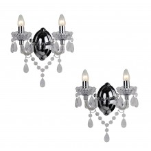 Set of 2 Clear Acrylic and Chome Marie Therese Style 2 x 40W Wall Light