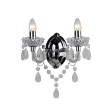 Clear Acrylic and Chome Marie Therese Style 2 x 40W Wall Light