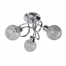 Polished Chrome 3 Way Flush With Striped Glass Shades