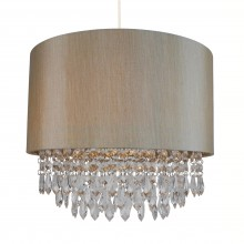 Large 350mm Soft Gold Easy Fit Shade with Matching Inner and Clear Droplets