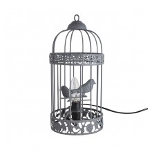 Grey Birdcage Table Lamp / Bedside Light