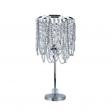Beaded and Jewelled Chrome 41cm Table Lamp / Bedside Light
