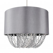 Large 40cm Grey Fabric Non Electric Pendant With Beaded Diffuser