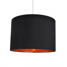 Black Faux Silk 30cm Drum Light Shade with Copper Inner