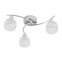 3 Light Swirl Twist Fitting with Crystal Effect Glass Shades